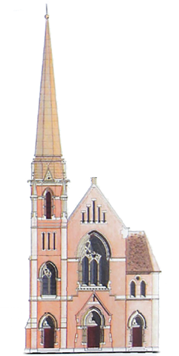 Church and Spire Drawing
